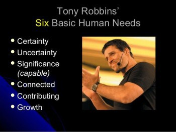 Photo of Tony Robbins talking about the Six Basic Human Needs