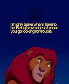 I'm only brave when I have to be. Being brave doesn't mean you go looking for trouble. the Lion King